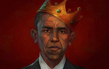 President Obama wearing a crown
